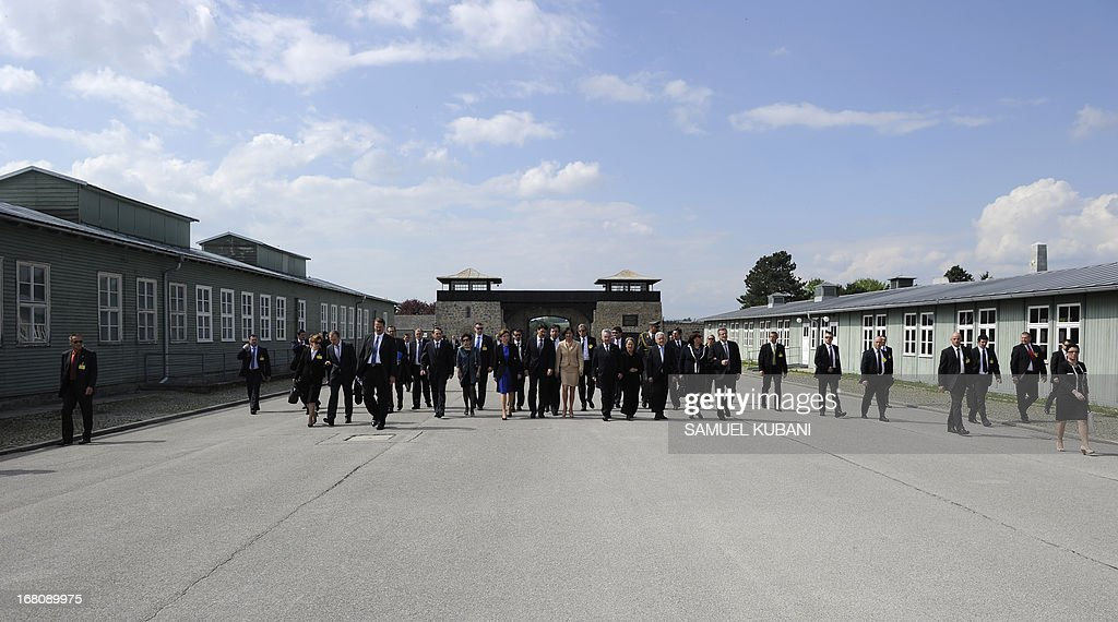 Presidents of Austria, Hungary and Poland arrive for the opening of the former concentration camp's new museum dedicated to Polish victims of the Nazis, in Mauthausen, on May 5, 2013.