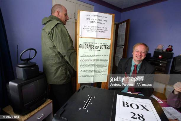 Presiding Officer Phil Lenny watches over a Polling Station in Chettisham Cambridgeshire in the bedroom of a family bungalow * Mrs Carmelia Bond...