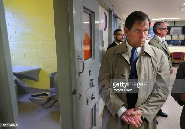 Presiding Plymouth Superior Court Judge Jeffrey Locke stands outside of Cell 13 at the Bridgewater State Hospital in Bridgewater MA on Dec 6 2017 as...