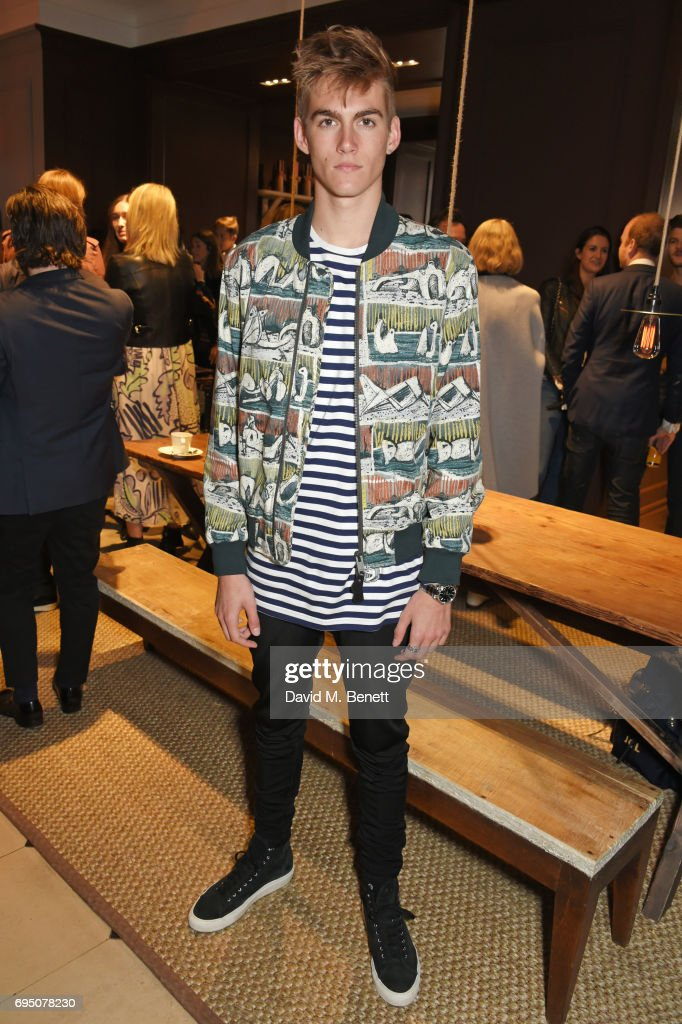 Presley Gerber attends a breakfast hosted by Christopher Bailey, Dame Natalie Massenet and Dylan Jones in celebration of London Fashion Week Men's at Thomas's on June 12, 2017 in London, Englan