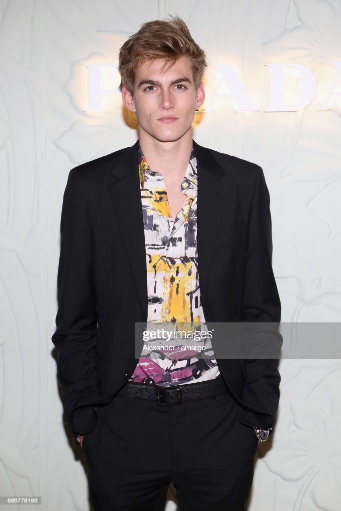 Presley Gerber attends the Prada Design District store opening at Prada Design District on December 5, 2017 in Miami, Florida.