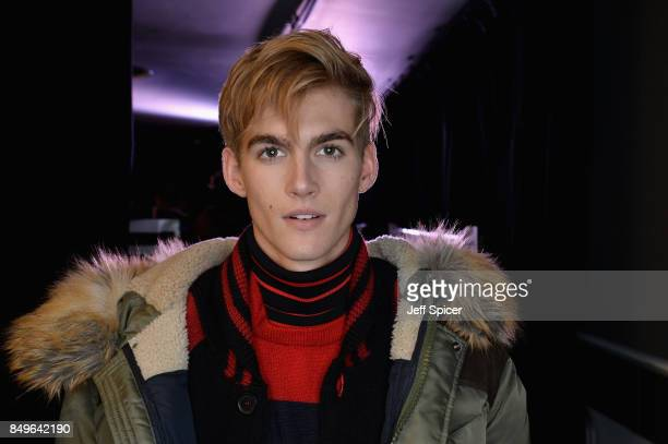 Presley Gerber backstage ahead of the Tommy Hilfiger TOMMYNOW Fall 2017 Show during London Fashion Week September 2017 at the Roundhouse on September...