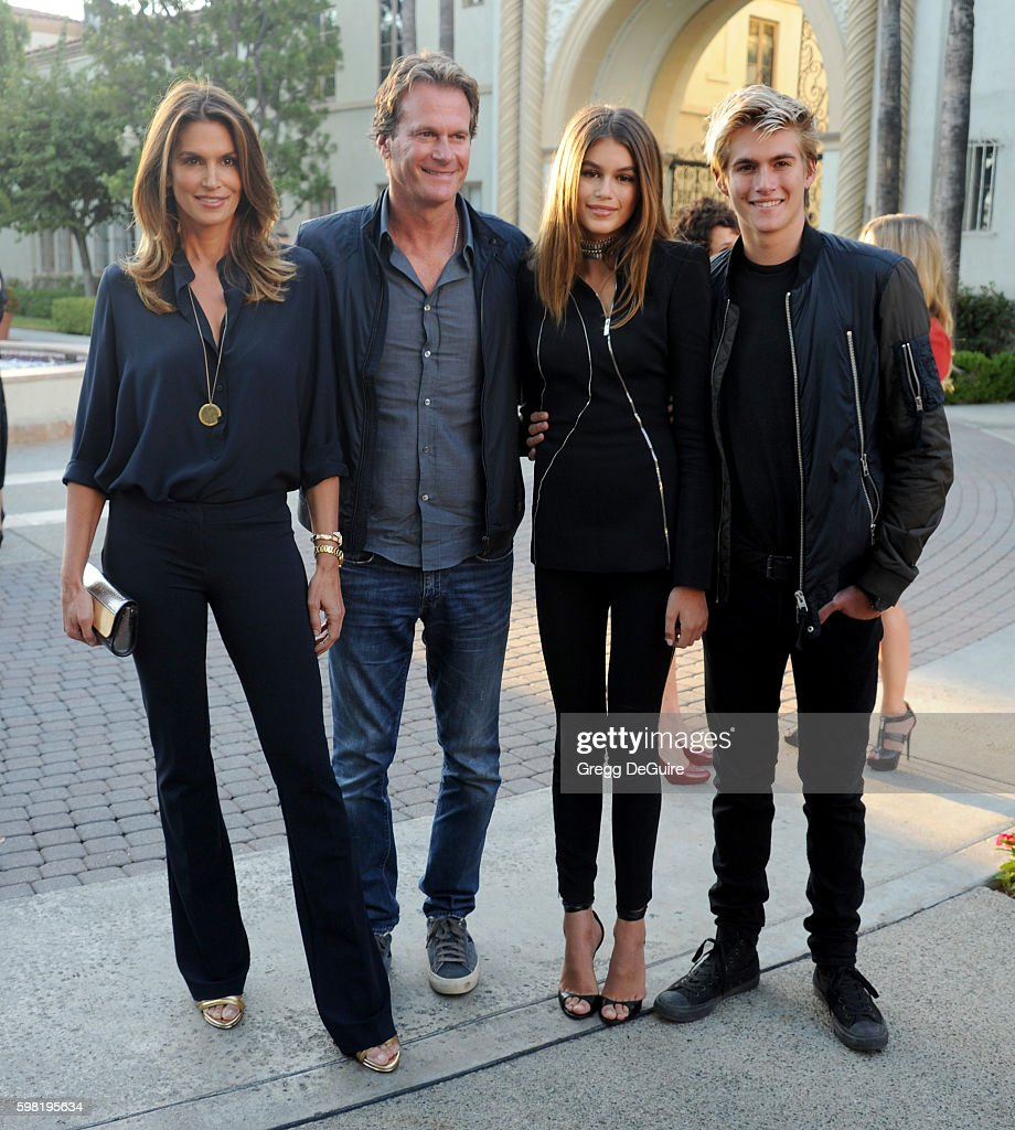 Presley Gerber, Kaia Gerber, Cindy Crawford and husband Rande Gerber arrive at the premiere of Lifetime's 'Sister Cities' at Paramount Theatre on August 31, 2016 in Hollywood, California.