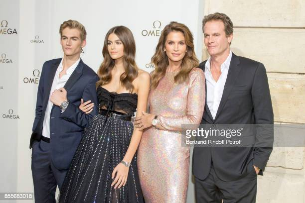 Presley Gerber Kaia Gerber Cindy Crawford and Rande Gerber attend 'Her Time' Omega Photocall as part of the Paris Fashion Week Womenswear...