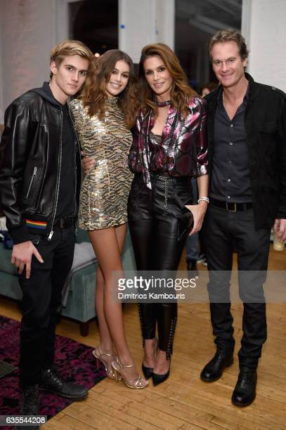 Presley Gerber Kaia Gerber Cindy Crawford and Rande Gerber attend Marc Jacobs Beauty Celebrates Kaia Gerber on February 15 2017 in New York City