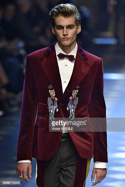 Presley Gerber walks the runway at the Dolce Gabbana show during Milan Men's Fashion Week Fall/Winter 2017/18 on January 14 2017 in Milan Italy
