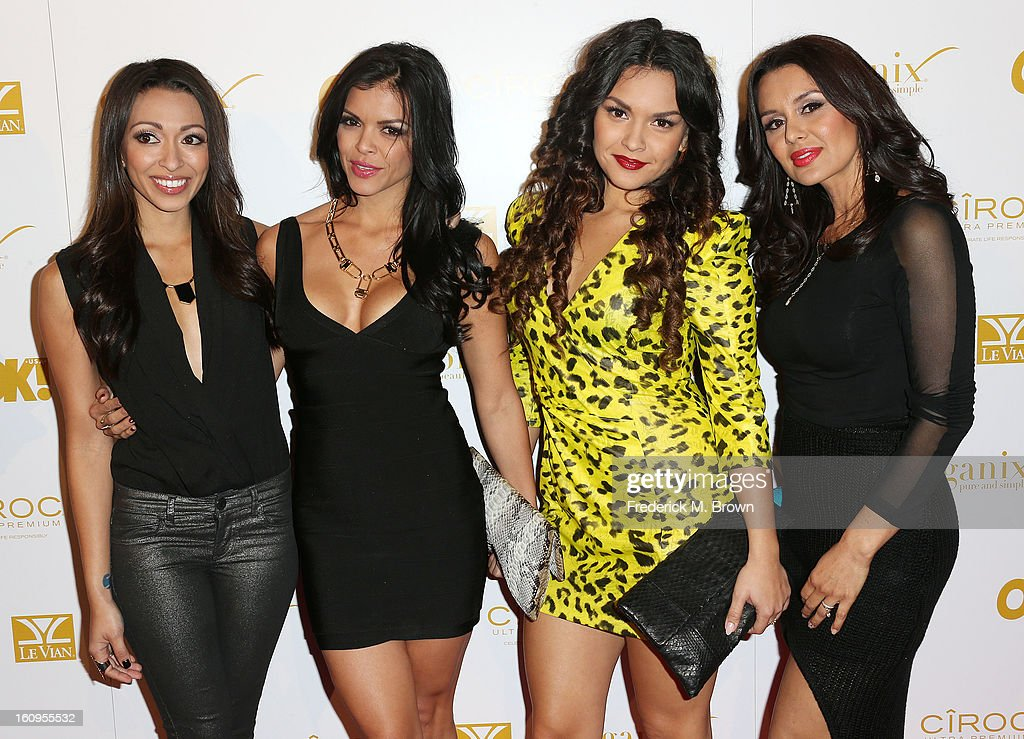 Presley Hernandez, Tiara Hernandez, Tahiti Hernandez, and Jaime Bayot of the musical group The Lylas attend the OK! Magazine Pre-GRAMMY Party at the Sound Nightclub on February 7, 2013 in Hollywood, California.
