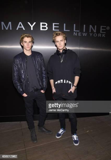 Presley Walker Gerber and DJ Neels Visser attend Maybelline New York celebrates Fashion Week at PHD Terrace at Dream Midtown on February 12 2017 in...