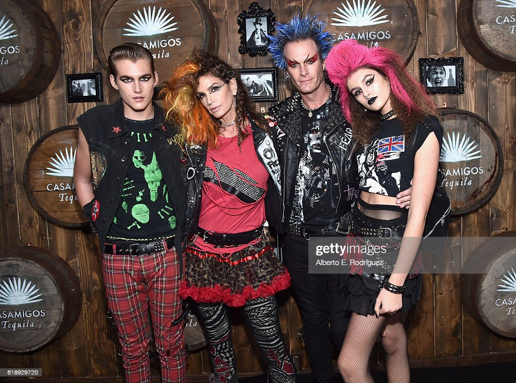Presley Walker Gerber, model Cindy Crawford, Casamigos co-founder Rande Gerber and Kaia Jordan Gerber arrive to the Casamigos Halloween Party at a private residence on October 28, 2016 in Beverly Hills, California.