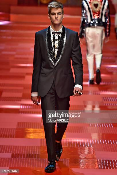 Presley Walker Gerber walks the runway at the Dolce Gabbana show during Milan Men's Fashion Week Spring/Summer 2018 on June 17 2017 in Milan Italy