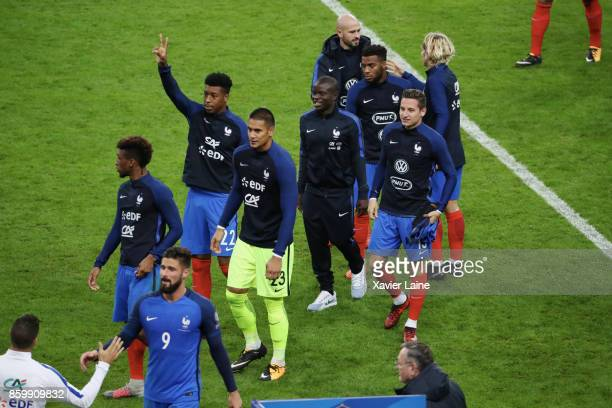 Presnel Kimpembe Alphone Areola N'golo Kante Florian Thauvin and Jordan Amavi of France celebrate the qualification after the FIFA 2018 World Cup...