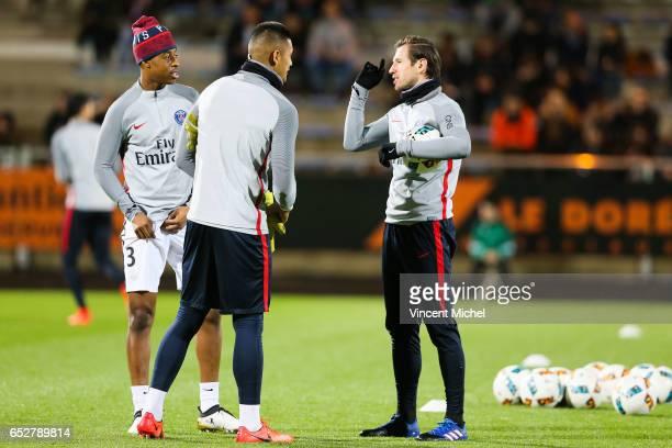 Presnel Kimpembe Alphonse Aerola and Grzegorz Krychowiak of Paris Saint Germain during the French Ligue 1 match between Lorient and Paris Saint...