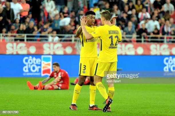 Presnel Kimpembe and Thomas Meunier of PSG at the end during the Ligue 1 match between Dijon FCO and Paris Saint Germain at Stade Gaston Gerard on...
