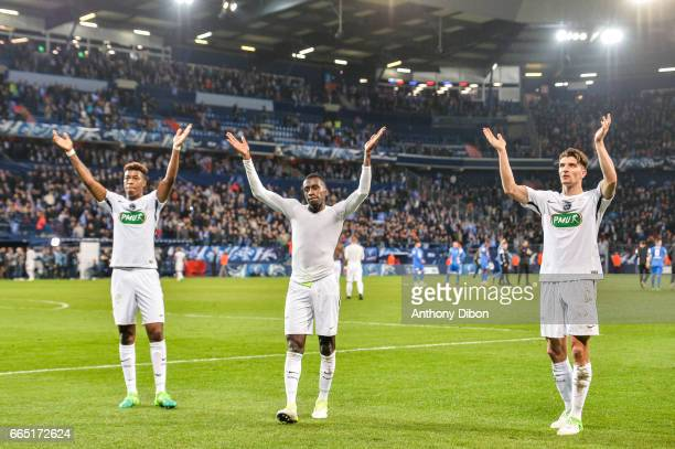 Presnel Kimpembe Blaise Matuidi and Thomas Meunier celebrates the victory with fans during the French National Cup Quarter Final match between Us...