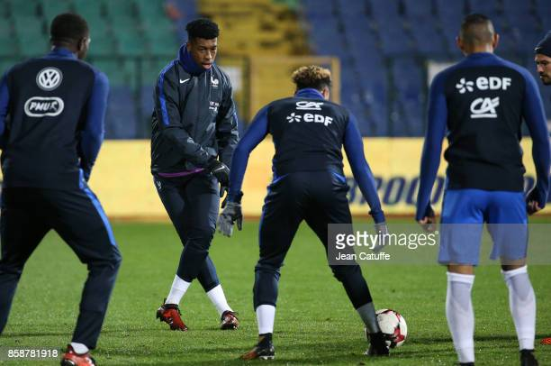 Presnel Kimpembe of France warms down following the FIFA 2018 World Cup Qualifier between Bulgaria and France at Vasil Levski National Stadium on...