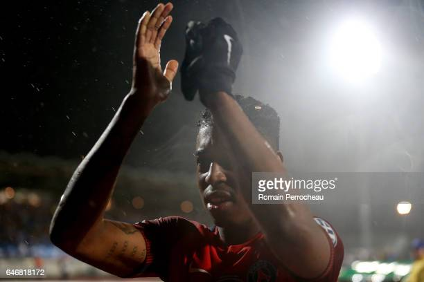 Presnel Kimpembe of Paris Saint Germain celebrates the victory of his team after a French Cup match between Niort and Paris Saint Germain at stade...