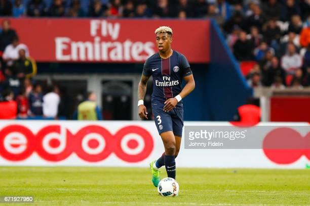 Presnel Kimpembe of Paris Saint Germain during the French Ligue 1 match between Paris Saint Germain and Montpellier Herault at Parc des Princes on...