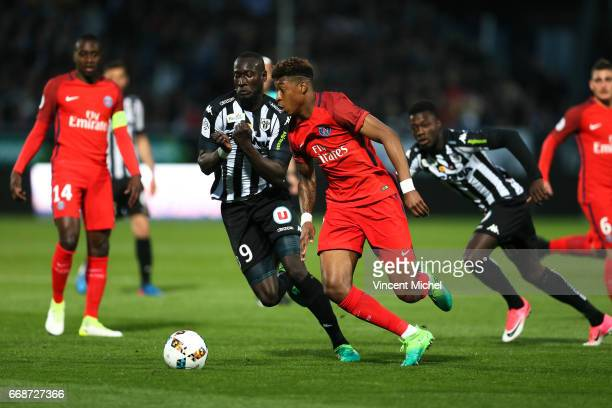 Presnel Kimpembe of Paris Saint Germain during the Ligue 1 match between Angers SCO and Paris Saint Germain PSG on April 14 2017 in Angers France