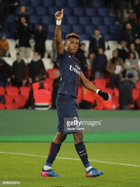 Presnel Kimpembe of Paris SaintGermain celebrates the victory during the French Ligue 1 match between Paris SaintGermain and AS NancyLorraine at Parc...