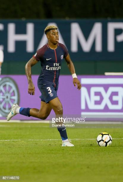 Presnel Kimpembe of Paris SaintGermain controls the ball against AS Roma during the second half at Comerica Park on July 19 2017 in Detroit Michigan