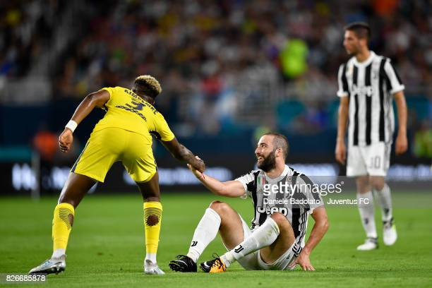 Presnel Kimpembe of PSG and Gonzalo Higuain of Juventus in action during the International Champions Cup 2017 match between Paris Saint Germain and...