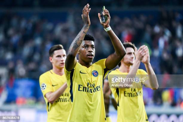 Presnel Kimpembe of PSG celebrates the victory during the UEFA Champions League match between RSC Anderlecht and Paris SaintGermain at Constant...