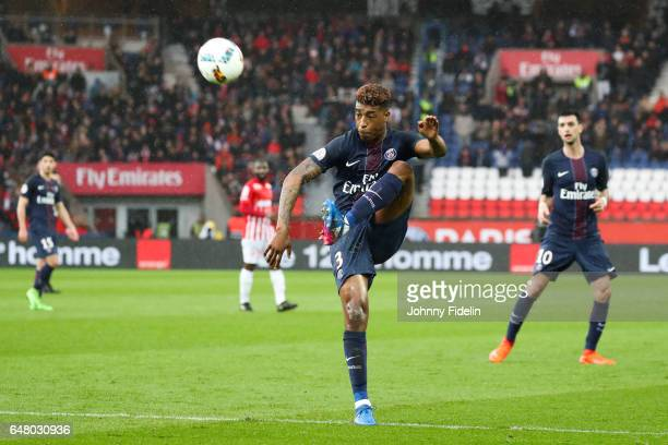 Presnel Kimpembe of PSG during the French Ligue 1 match between Paris Saint Germain and Nancy at Parc des Princes on March 4 2017 in Paris France