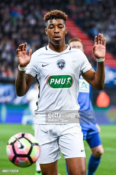Presnel Kimpembe of PSG during the French National Cup Quarter Final match between Us Avranches and Paris Saint Germain at Stade Michel D'Ornano on...