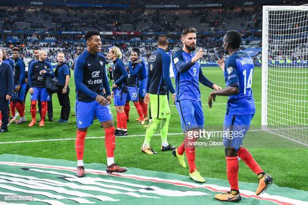 Presnel Kimpembe Olivier Giroud and Blaise Matuidi celebrate the victory during the Fifa 2018 World Cup qualifying match between France and Belarus...