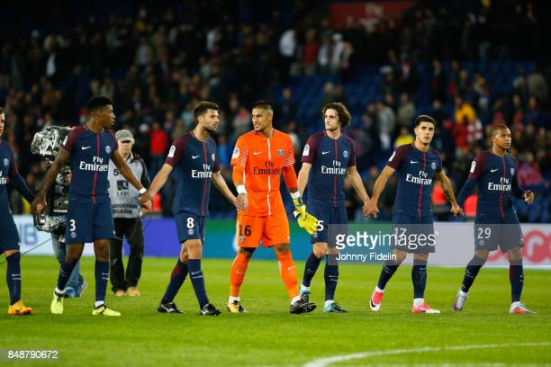 Presnel Kimpembe Thiago Motta Alphonse Aerola Adrien Rabiot Yuri Berchiche and Kylian MBappe of PSG celebrate his victory during the Ligue 1 match...