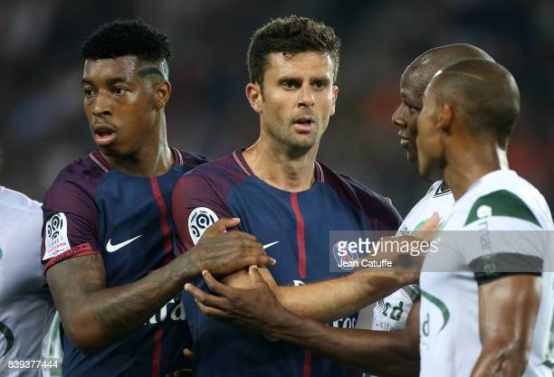 Presnel Kimpembe Thiago Motta of PSG Bryan Dabo of SaintEtienne during the French Ligue 1 match between Paris Saint Germain and AS SaintEtienne at...