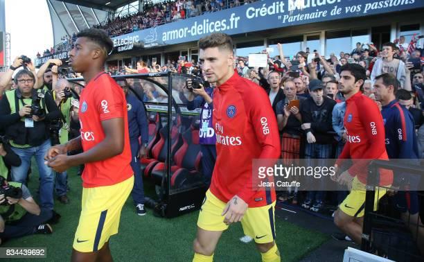 Presnel Kimpembe Thomas Meunier Goncalo Guedes of PSG during the French Ligue 1 match between En Avant Guingamp and Paris Saint Germain at Stade de...