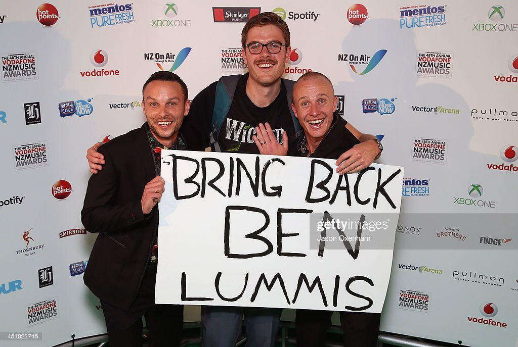 Presnters Ben Boyce(L), Guy Williams and Jono Pryor pose during the New Zealand Music Awards at Vector Arena, Auckland, New Zealand.