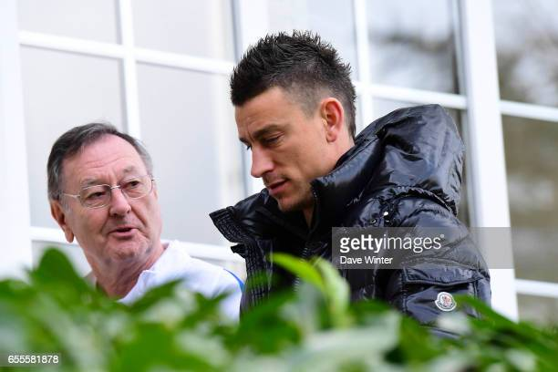 Press attache Philippe Tournon and Laurent Koscielny of France arriving at Centre National du Football on March 20 2017 in Clairefontaine France