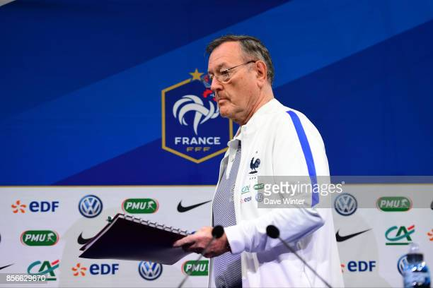 Press attache Philippe Tournon during the press conference at Centre National du Football on October 2 2017 in Clairefontaine en Yvelines France