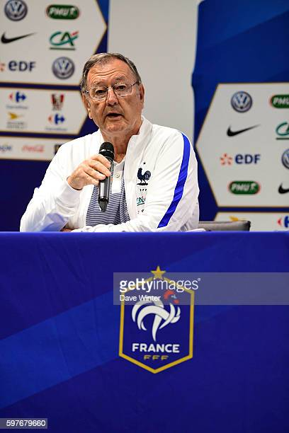 Press attache Philippe Tournon during the press conference at the Centre National du Football on August 29 2016 in Clairefontaine France