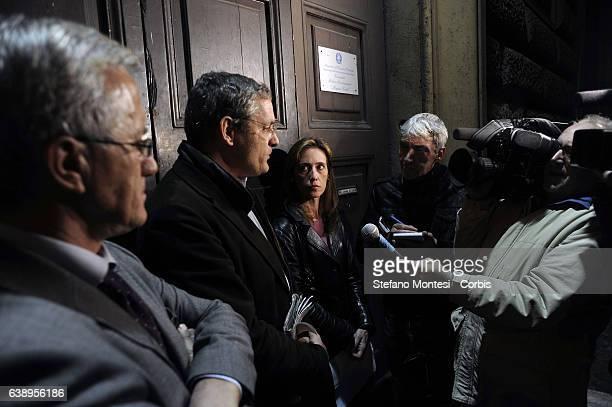 Press conference after visiting the prison of Regina Coeli of the Senator Stefano Pedica Italy of Values lawyer Stefano Maranella and Ilaria Cucchi...