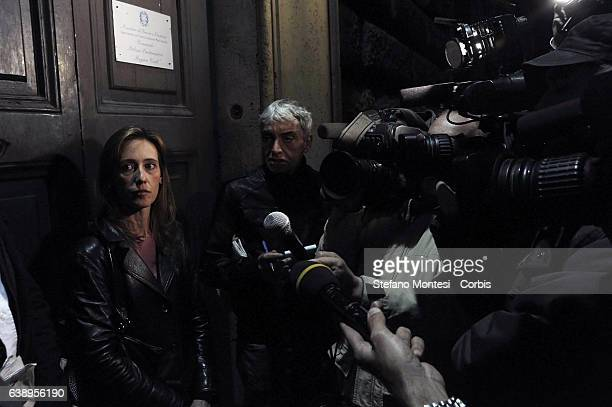 Press conference after visiting the prison of Regina Coeli of the Senator Stefano Pedica Italy of Values lawyer Stefano Maranella and Ilaria Cucchi...