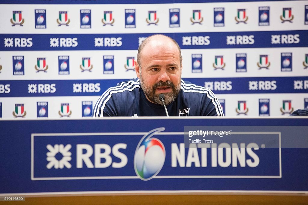 A press conference before the match against England during the RBS 6 Nations. In the picture: assistant coach Giampiero De Carli.