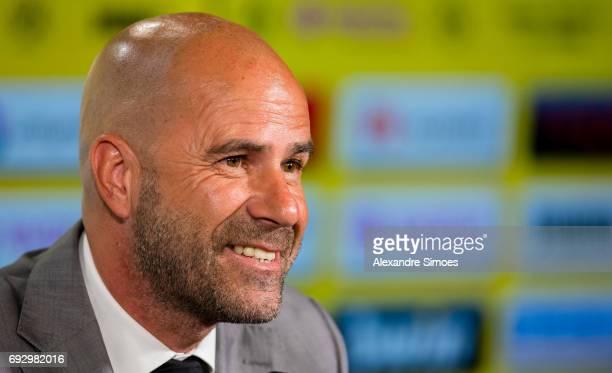 Press conference Borussia Dortmunds new head coach Peter Bosz at Signal Iduna Park on June 6 2017 in Dortmund Germany