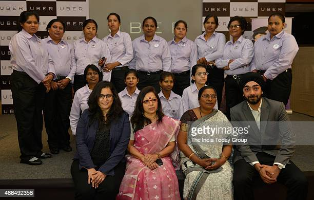 Press conference by Uber cab company to introduce its Woman's driver in New Delhi
