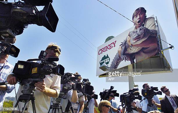 A press conference by Zoo manager Wes Mannion Bob Irwin father of the late Steve Irwin and Irwin's manager John Stainton attracts dozens of TV...