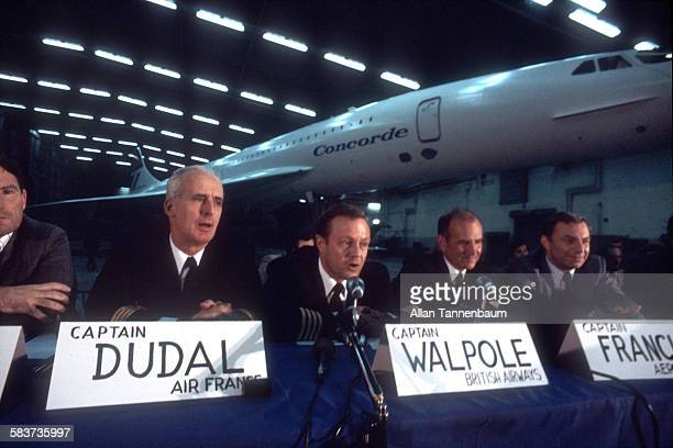 Press Conference for Air France/British Airways Concorde landing at JFK Airport after first supersonic transatlantic flight New York New York October...