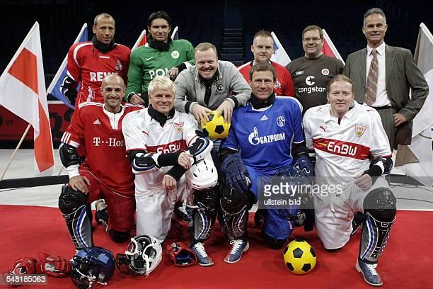 Press conference for 'Deutscher Eisfussball Pokal 2009' Ltr Peyman Amin Guido Cantz Ingo Anderbruegge Joey Kelly Matthias Scherz Thomas Brdaric...