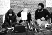 Press conference inside the US embassy done by the Iranian students kidnapper of 52 Americans held hostages during 444 days from November 4 1979 to...