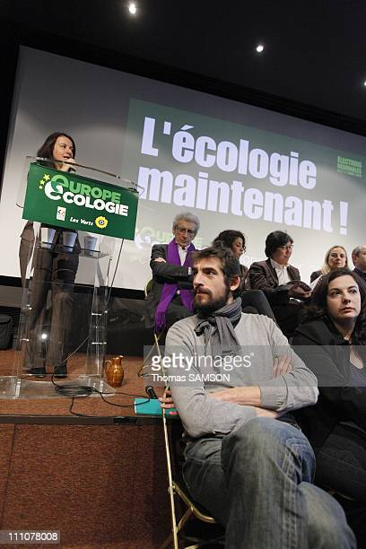 Press Conference of Cecile Duflot spokesman for Ecology in Europe on regional elections in the presence of the candidates of 'Ile de France' in Paris...