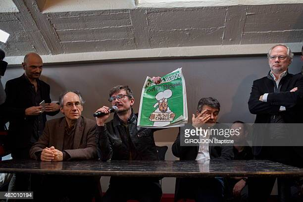 PARIS FRANCE JANUARY 13 Press Conference of Charlie Hebdo for the presentation of the cover of the magazine after the attack by the brothers Kouach...