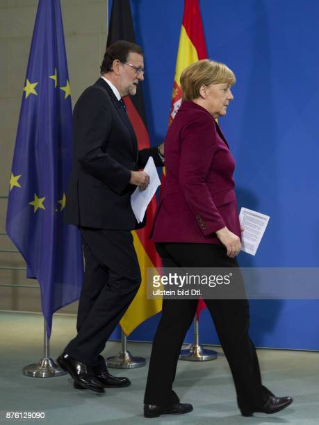 Press conference of German Chancellor Angela Merkel and Spanish Prime Minister Mariano Rajoy on 18 November 2016 at the Federal Chancellery in Berlin...