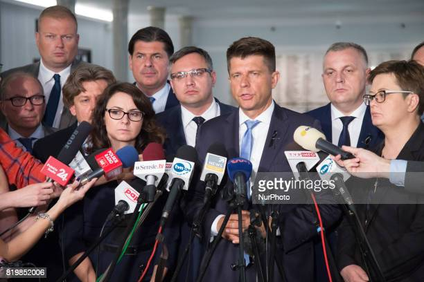 Press conference of opposition Nowoczesna party at lower house of Polish Parliament in Warsaw Poland on 19 July 2017