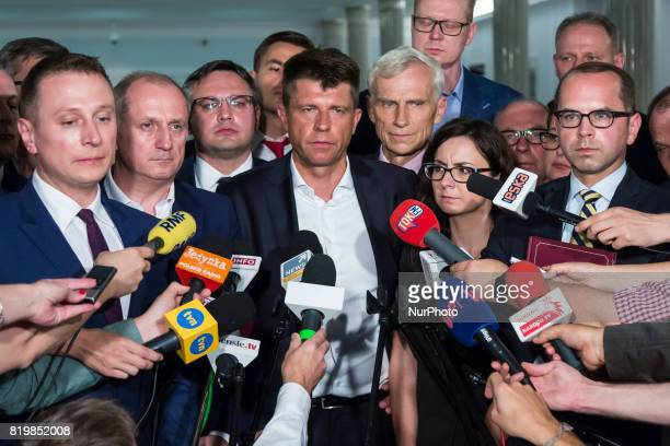 Press conference of opposition parties after a night debate on a Supreme Court bill in parliamentary commission at lower house of Polish Parliament...